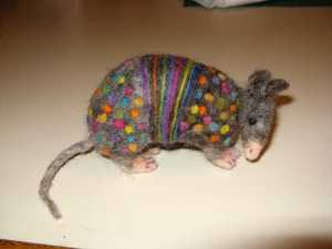 Needle-felted armadillo by Donna Faivre-Roberts