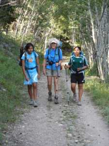 Sarah, Dana, and Molly on the Cirque Meadow Trail