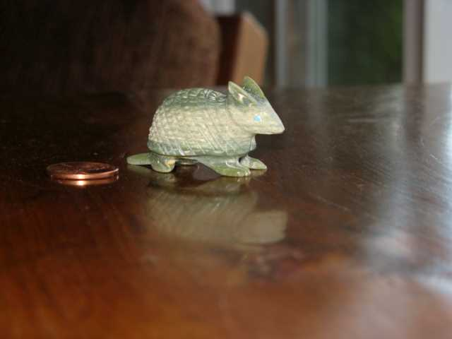 Armadillo Fetish (with a penny for scale)