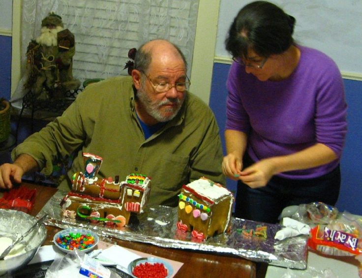Don and Kit decorating the steam engine and coal car.