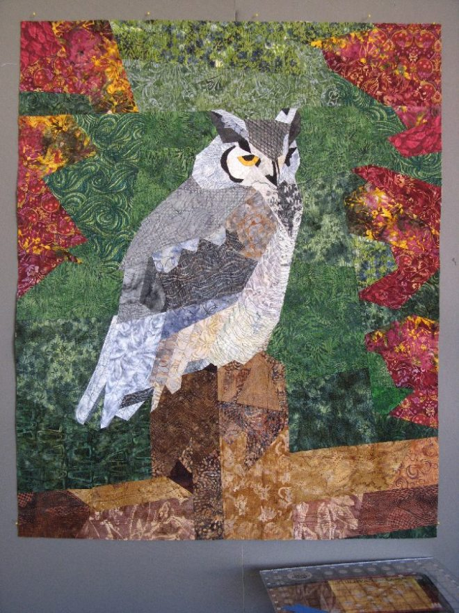 My Great Horned Owl quilt... Almost done!