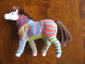 The finished project: A pony in PJs.
