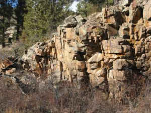 A natural rock wall we passed on one of our walks this month. A reminder of the virtual setting of our two month hike.