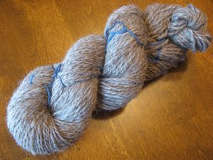 My first Bluefaced Leicester handpun yarn.