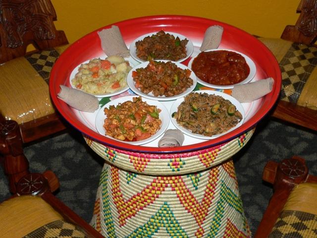 Ethiopian food served family-style (photo Nyala Ethiopian Restaurant)
