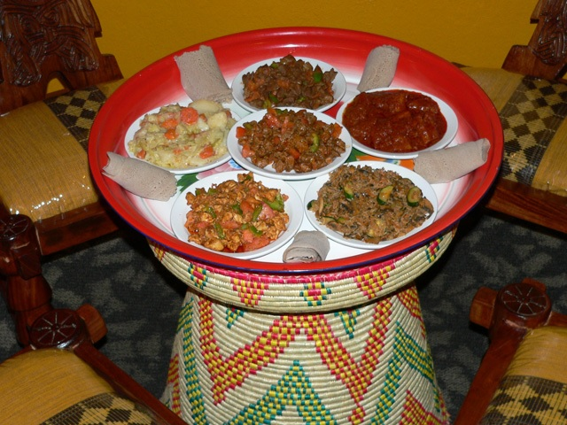 Ethiopian food served family-style (photo Nyala Ethiopian Restaurant)