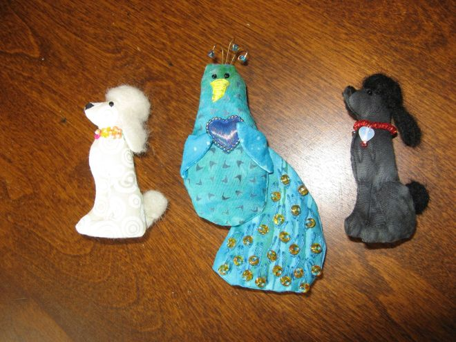 Pin dolls (poodles and peacock) by Kit Dunsmore