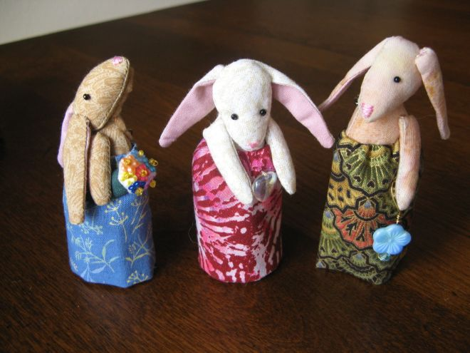 Rabbit pin dolls by Kit Dunsmore