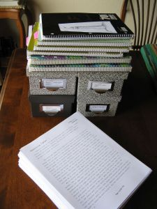 My project notebooks, my research cards, and my 436-page first draft. Whew!