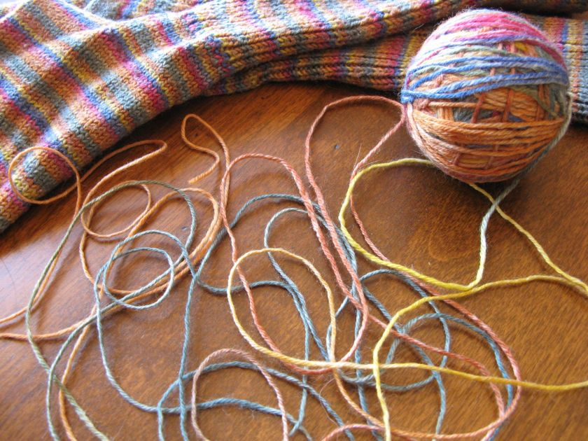 Self-striping yarn and the socks I made with it.