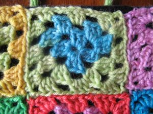 The heart in this block is a side-effect of the self-striping yarn.