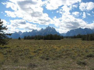 Grand Teton mountain range as seen from River Road; photo by Kit Dunsmore