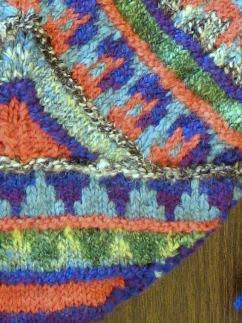 My lumpy handspun yarn made for lumpy knitting. But I like it!