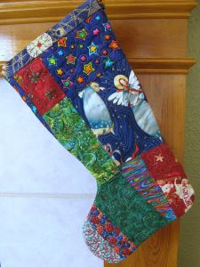 Quilted stocking from the back