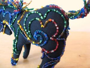 Beaded pony, detail, by Kit Dunsmore