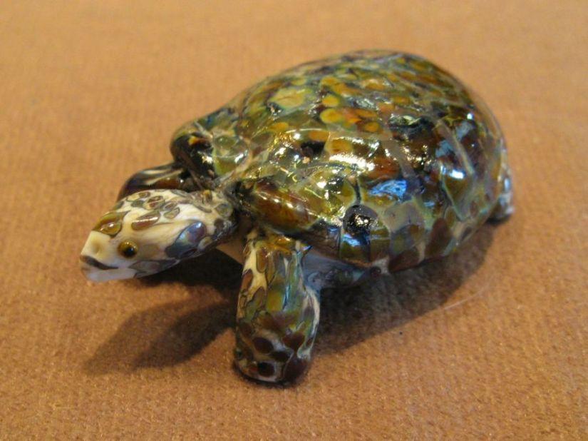 Wildlife Art: Grama Tortoise Glass Beads AndSculpture