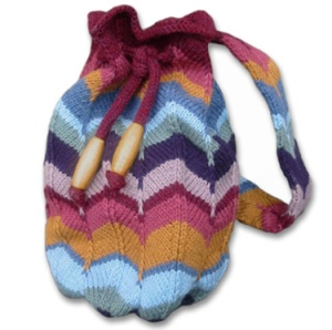Knitwhits' Roma bag; a knit bag with a crocheted afghan look.