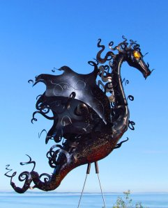 Smokey Embers Dragon made from a flamingo by Kate Higgins of Flamingo Incognito.