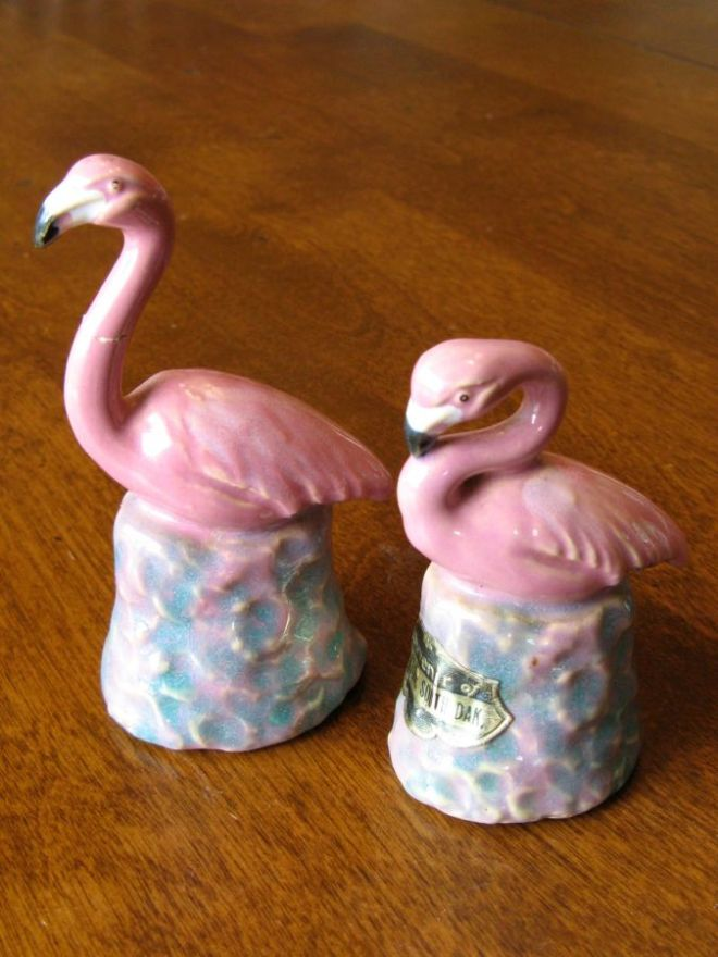 Flamingo salt and pepper shakers. Classic!