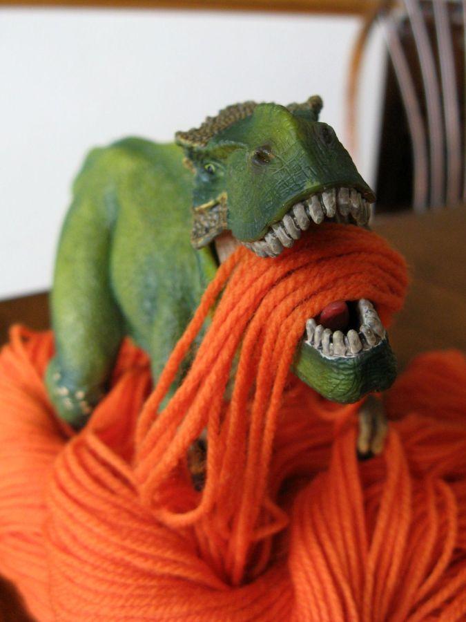 Tyrannosaurus Rex + yarn = ???