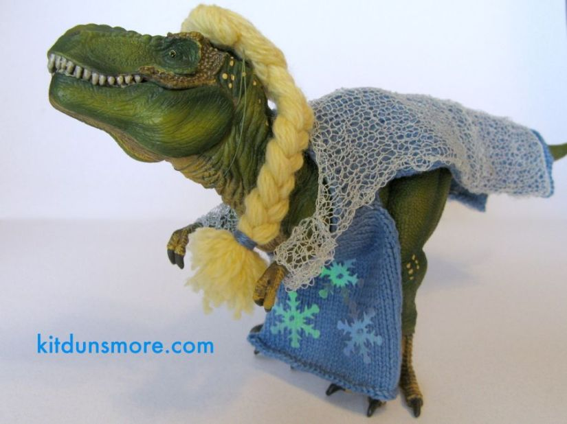 Halloween Costume for a T-Rex: Elsa from Frozen