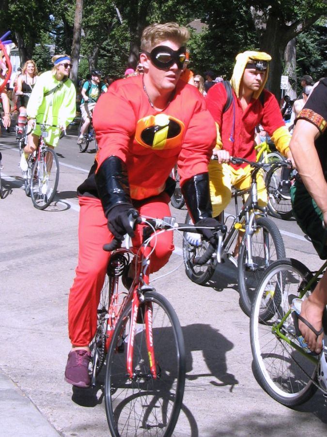 Superheroes were everywhere. Here is just one of the Incredibles.