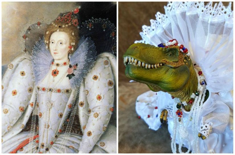 A T. Rex Dressed As Elizabeth I