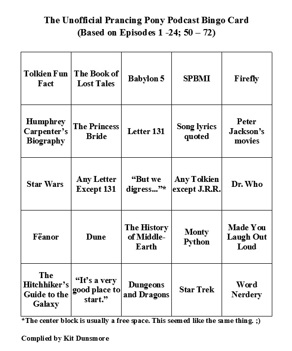 A bingo card for use by those listening to The Prancing Pony Podcast. Made by Kit Dunsmore