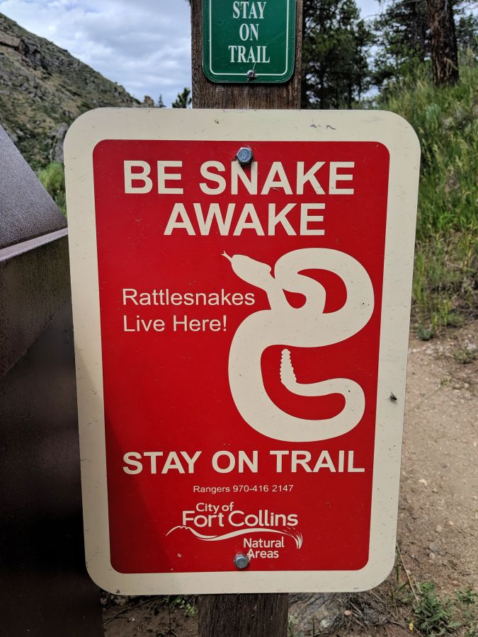 Be Snake Awake trail head sign, photo by Kit Dunsmore