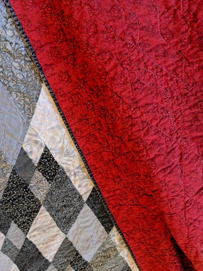 Sigh No More quilt detail and back by Kit Dunsmore