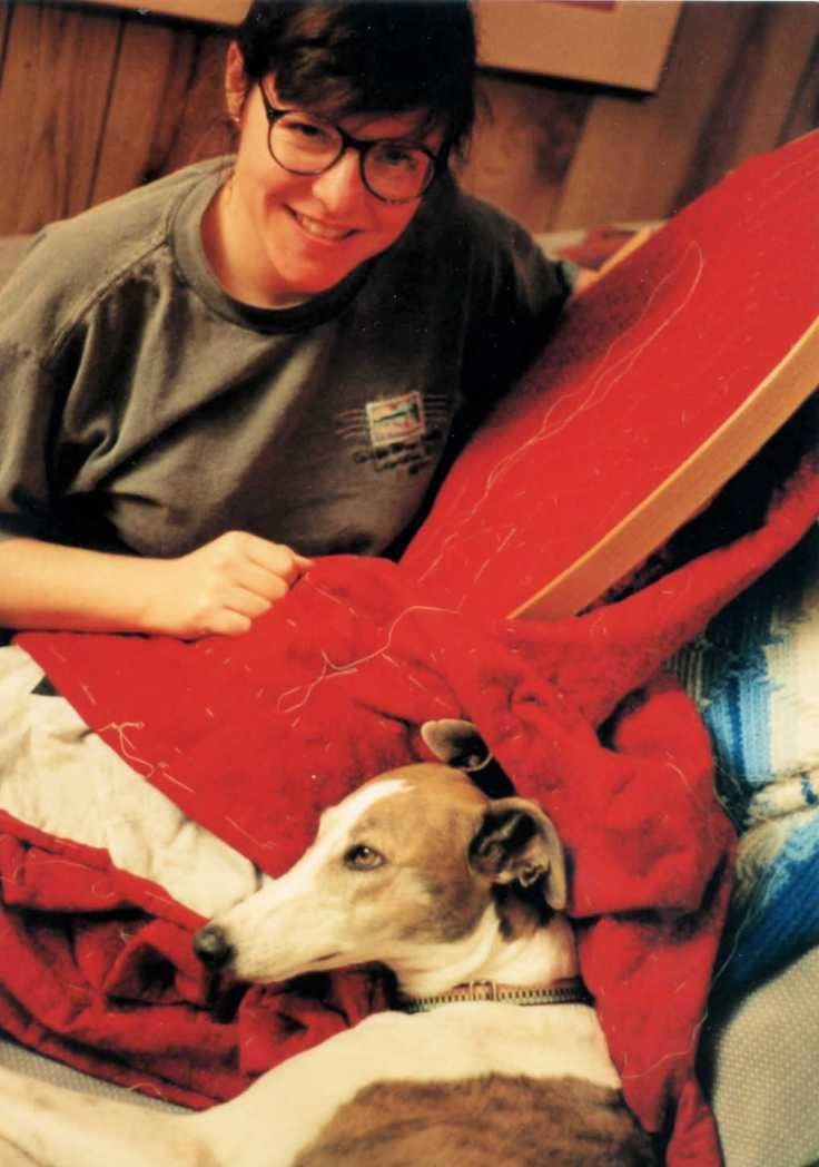 Kit Dunsmore hand-quilting; greyhound