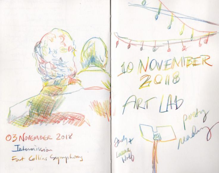 Sketches in primary colors. Back of people's heads and string of lights. Drawings by Kit Dunsmore